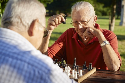 Retirees playing chess